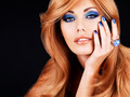 portrait of a beautiful woman with blue nails, blue makeup - PhotoDune Item for Sale