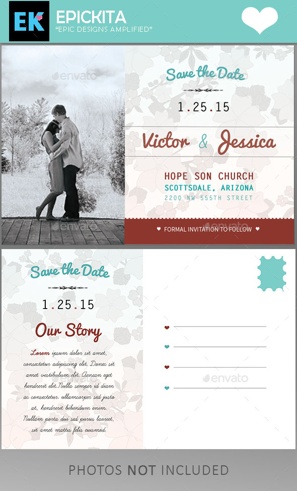 GraphicRiver Save the Date Postcard Template 10023899