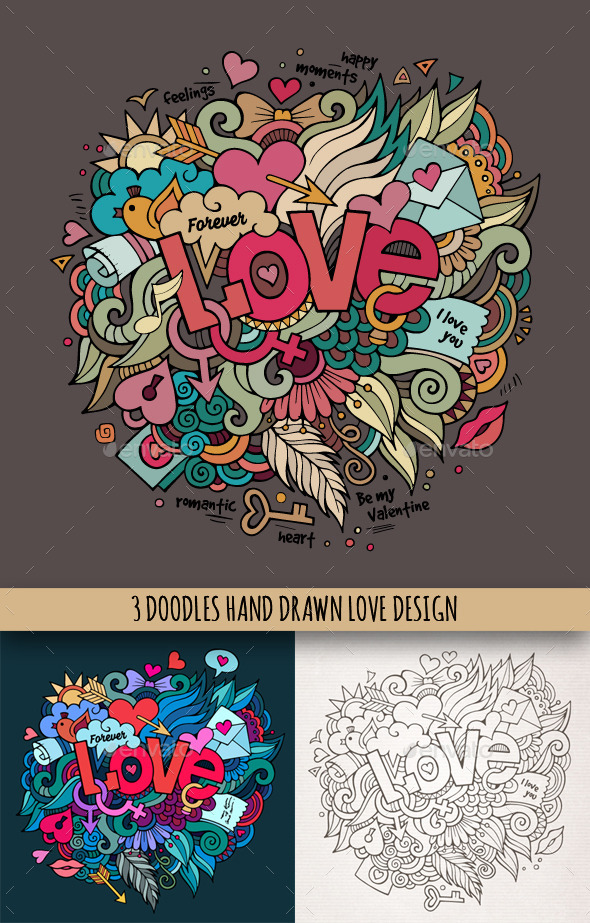 GraphicRiver 3 Love Doodles Designs 10036453
