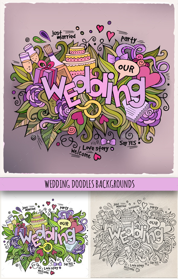 GraphicRiver 3 Wedding Doodles Designs 10036534
