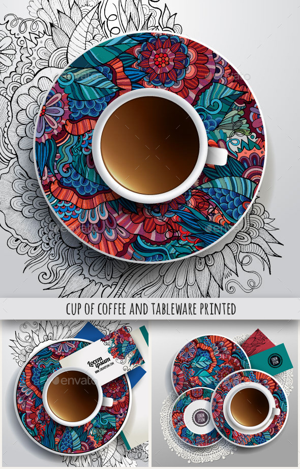 GraphicRiver Cup and Tableware Printed Set 10036752
