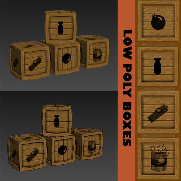 3DOcean LOW POLY BOXES 10037180