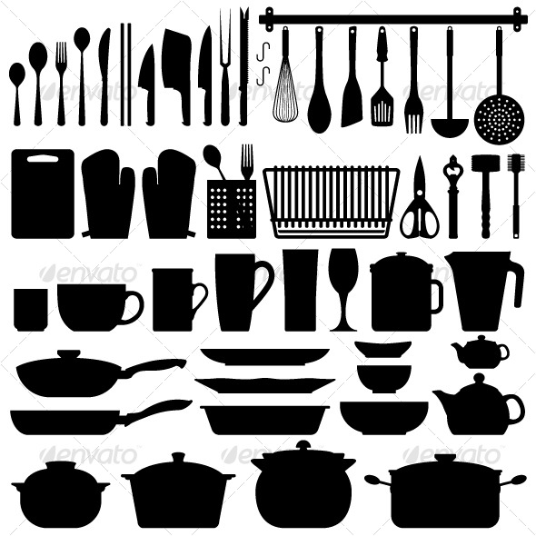 Kitchen Utensils Silhouette Vector - Man-made Objects Objects