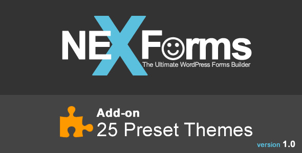 Add-on for NEX-Forms – The Ultimate WordPress Form Builder This useful add-on will allow you to select between 25 preset themes (color schemes) to instant