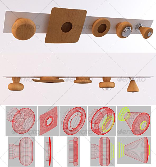 SET 01 - Furniture Handles - 3DOcean Item for Sale