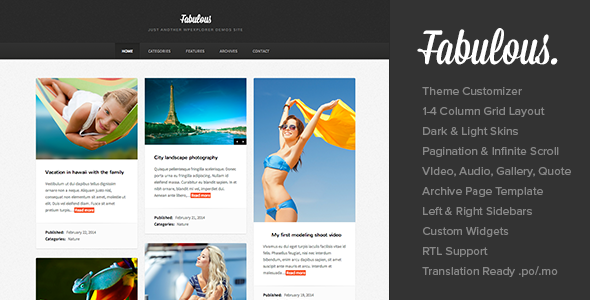 Fabulous - Responsive Masonry Blog WordPress Theme - Personal Blog / Magazine