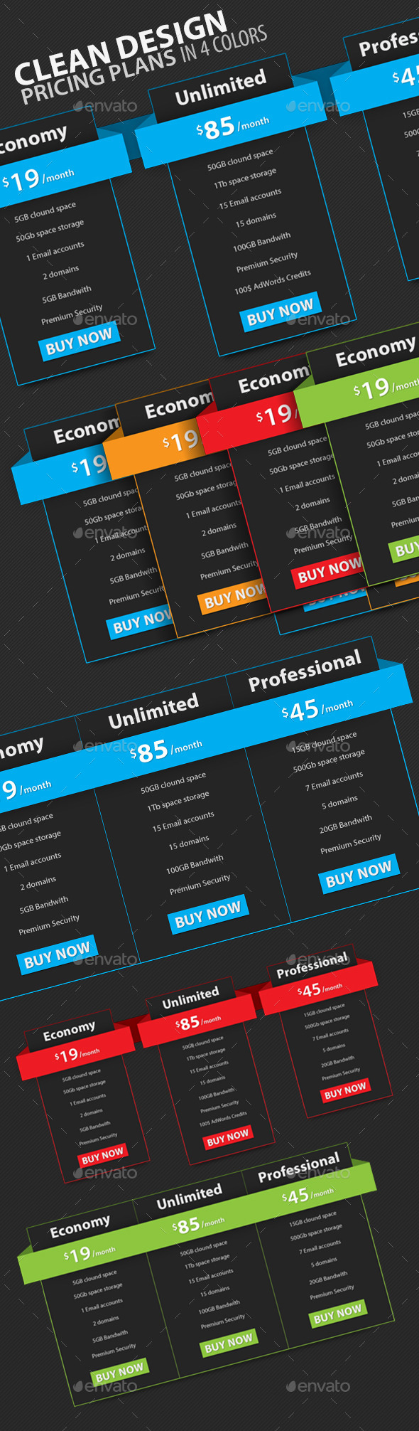 GraphicRiver Clean Design Pricing Plans 10039515