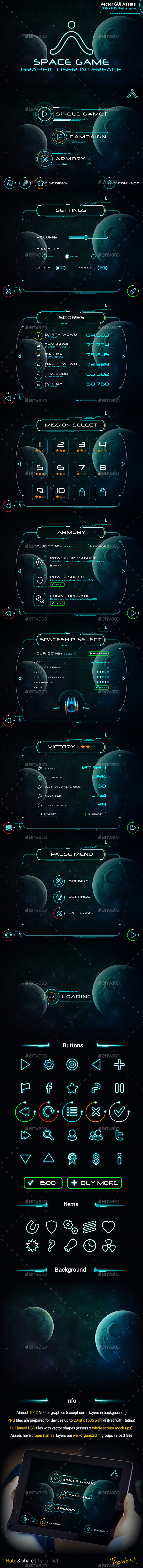 GraphicRiver Space Game GUI Set 10039885