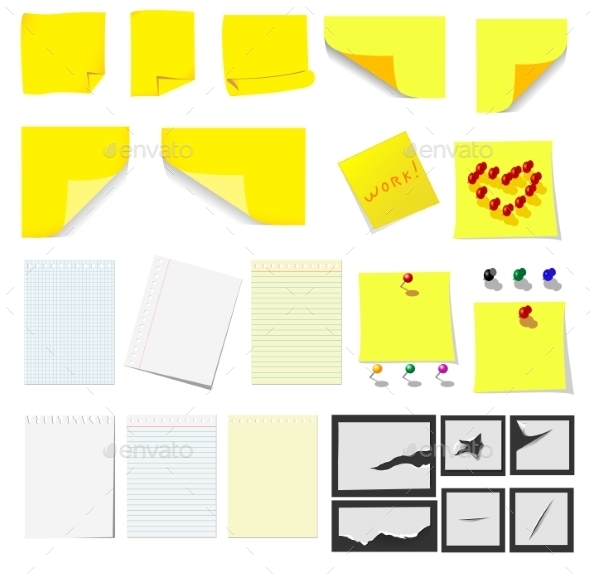 GraphicRiver Office Sticky Notes and Paper 10040250