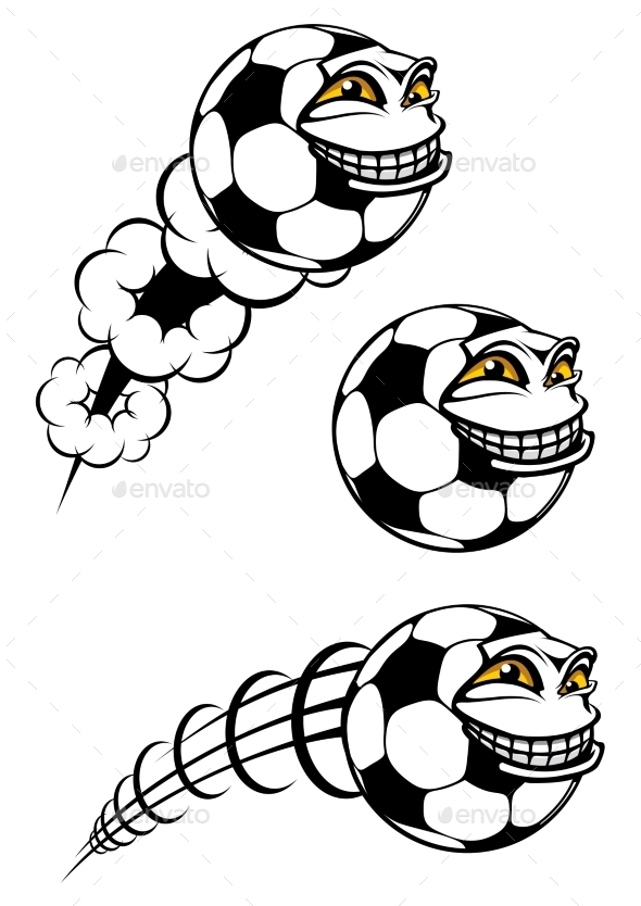 GraphicRiver Flying Cartooned Soccer or Football 10040255