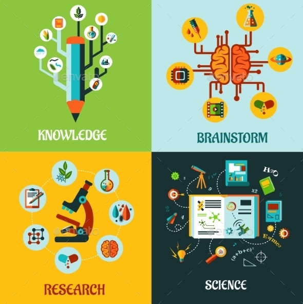 GraphicRiver Research Science and Brainstorm Flat Concepts 10040272
