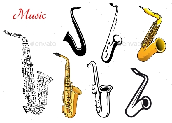 GraphicRiver Cartoon Saxophone Musical Instruments 10040280