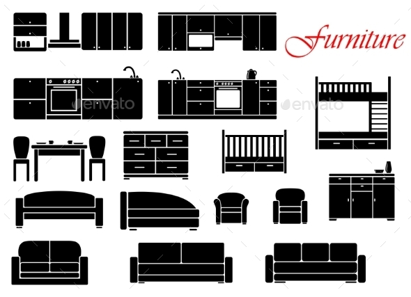 GraphicRiver Assorted Home Furniture Set 10040293