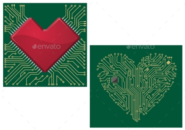 GraphicRiver Computer Motherboard with Heart 10040311