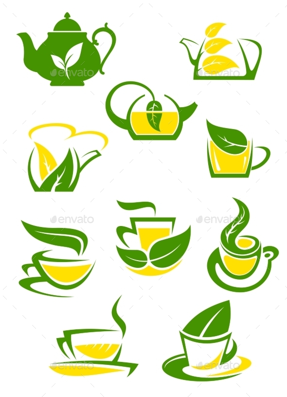 GraphicRiver Herbal and Lemon Tea Cup Icons 10040354
