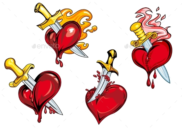GraphicRiver Bleeding Hearts Stabbed by Daggers 10040366