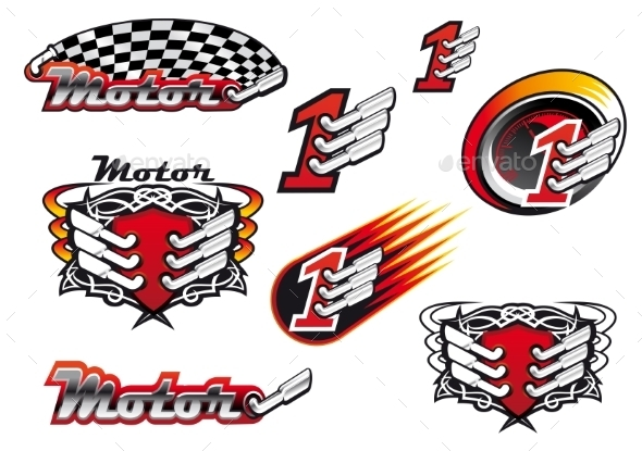 GraphicRiver Racing and Motocross Emblems 10040382