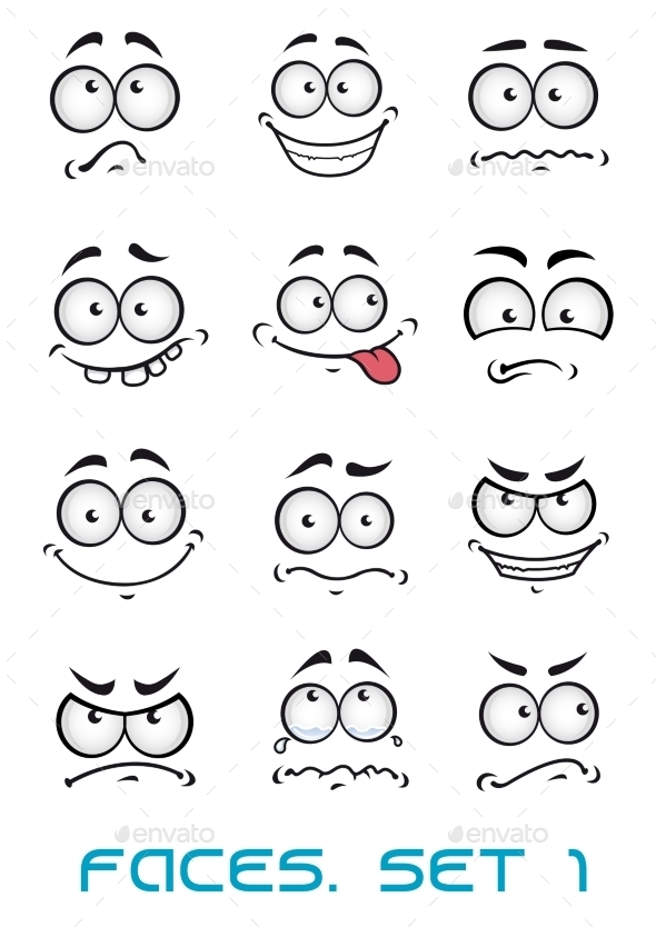 GraphicRiver Cartoon Faces with Different Emotions 10040394