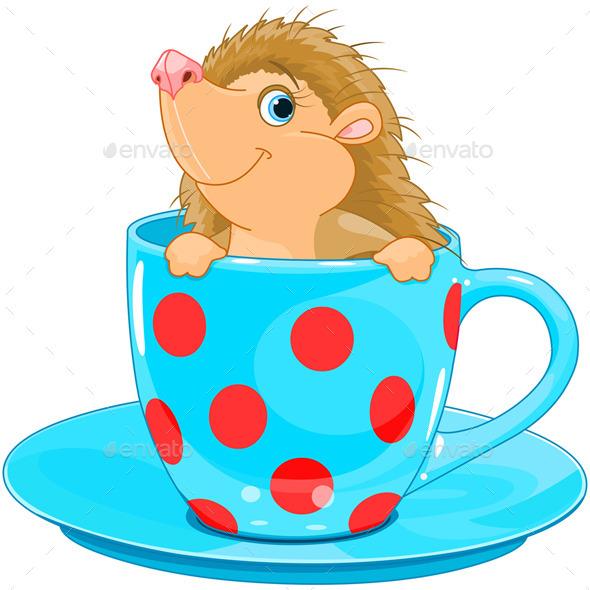 GraphicRiver Hedgehog in a Tea Cup 10040395