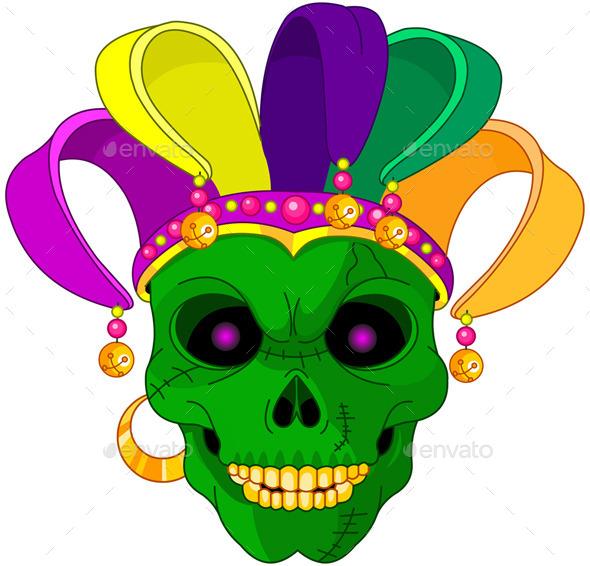 GraphicRiver Mardi Gras Skull 10040426