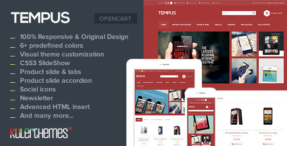 Tempus A stylish OpenCart theme for mobile store