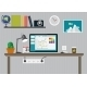 Working Place Modern Office Interior Flat Design - GraphicRiver Item for Sale