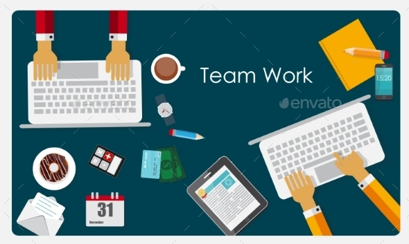 GraphicRiver Team Work Flat Concept 10040603