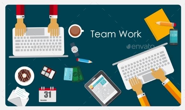 Team Work Flat Concept