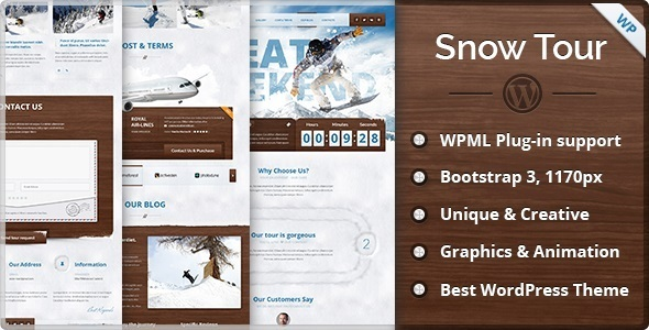 ThemeForest Snow Tour Wordpress Winter Travel Tour Theme 9929008