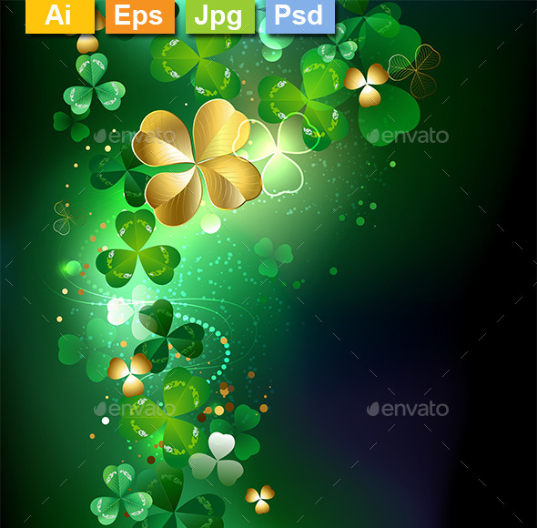 GraphicRiver Glowing Golden Shamrock 10041073