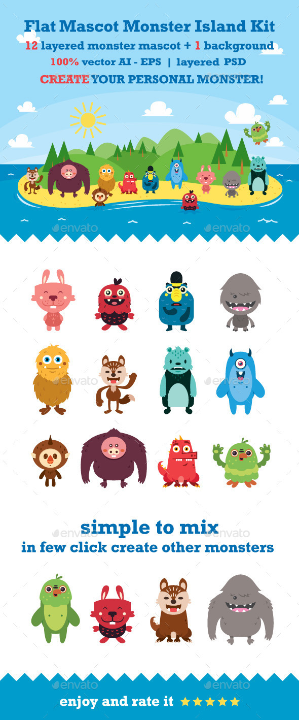 GraphicRiver Flat Mascot Monster Island Kit 10041460