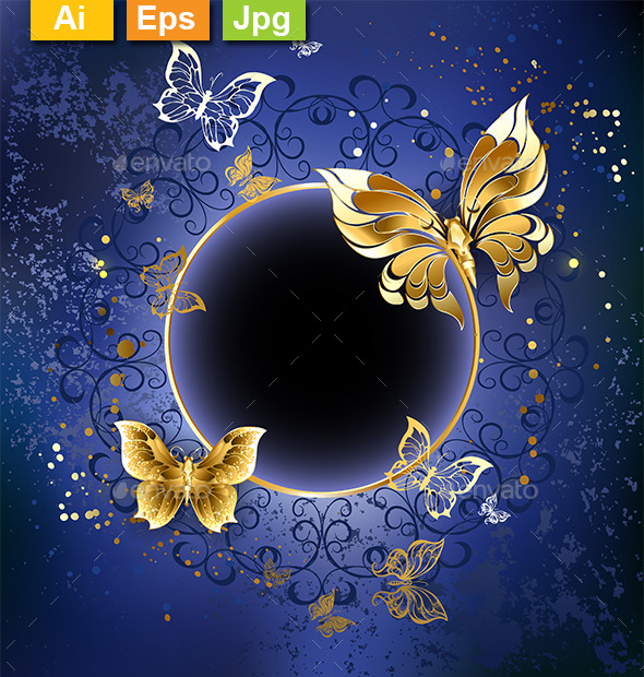 GraphicRiver Gold Butterflies on a Blue Background 10041727