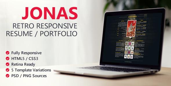 Jonas - Retro Responsive Resume / Portfolio