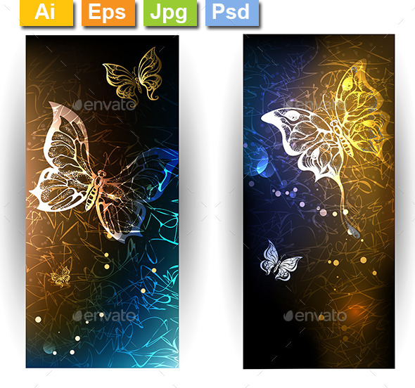 GraphicRiver Two Banners with Glowing Butterflies 10041806