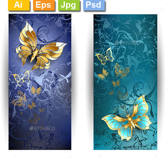 GraphicRiver Two Banners with Gold Butterflies 10041859