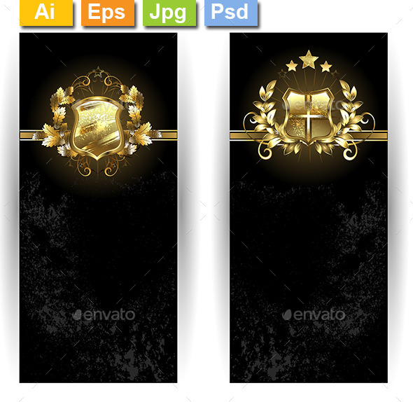 GraphicRiver Two Banners with Shields 10041930