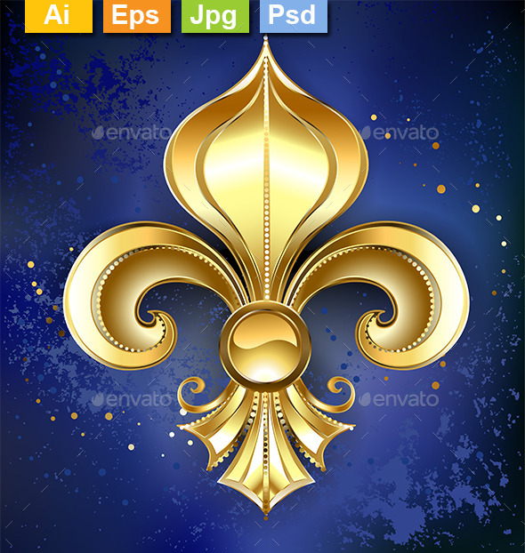 GraphicRiver Gold Fleur-De-Lis on a Blue Background 10042092