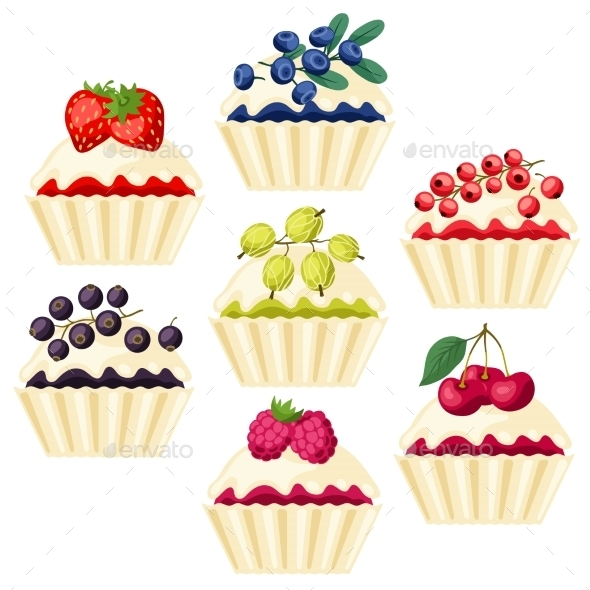 GraphicRiver Cupcakes with Various Fillings 10042133