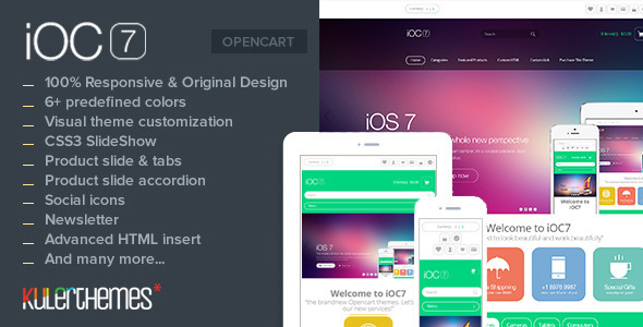 iOC7 – A responsive theme with modern flat design - OpenCart eCommerce