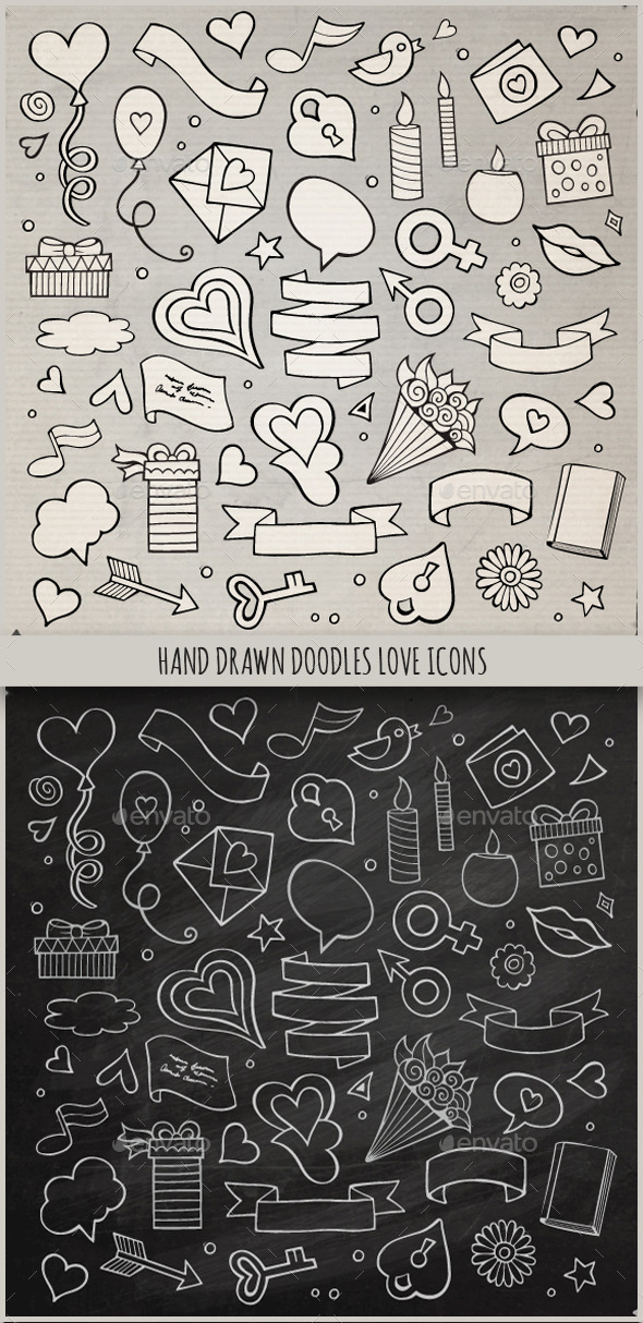 Hand Drawn Love Doodles Icons