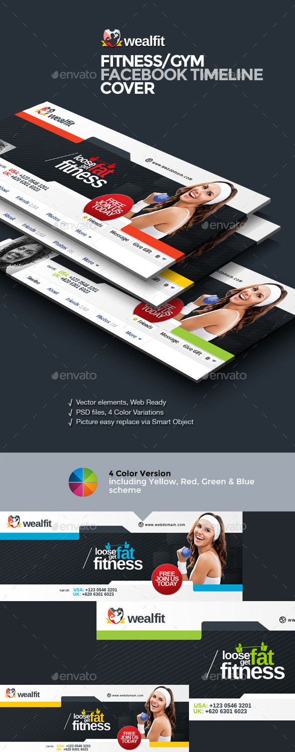 GraphicRiver WealFit Fitness Gym Facebook Timeline Cover 10042377