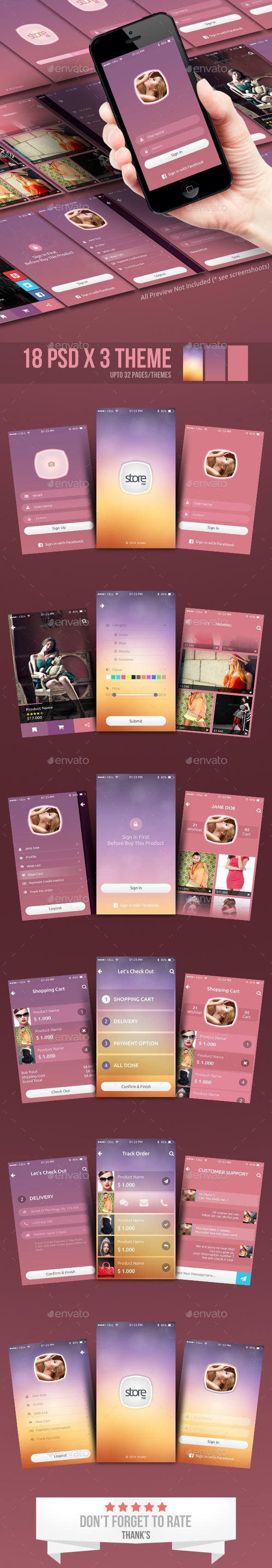 GraphicRiver Fashion Store Mobile App UI 9935511