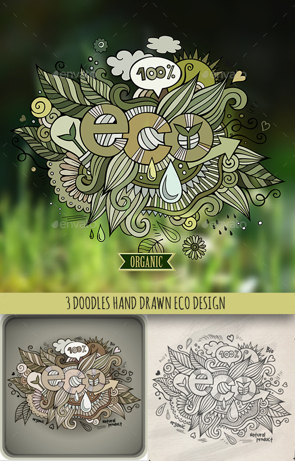 GraphicRiver 3 Eco Doodles Designs 10042472