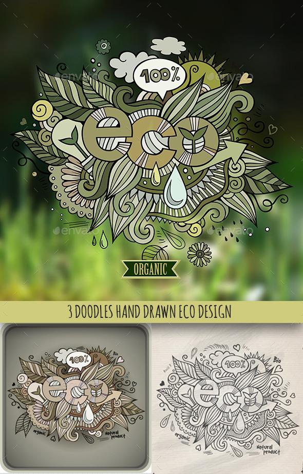 GraphicRiver 3 Eco Doodles Designs 10042472