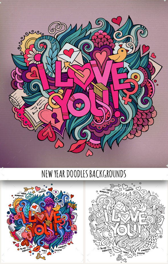 GraphicRiver 3 I Love You Doodles Designs 10042484