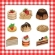 Set of Sweet Appetizing Cakes on Red Plaid - GraphicRiver Item for Sale