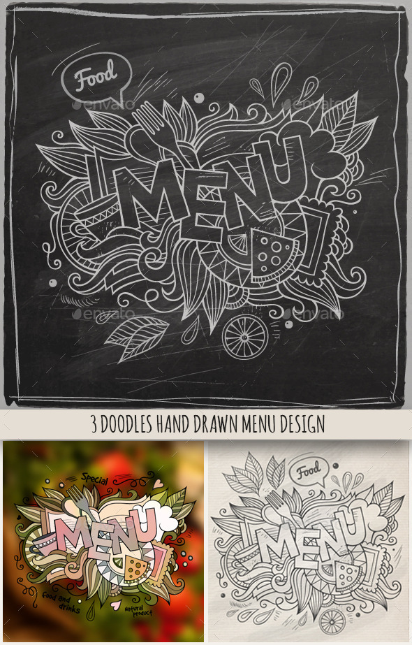 GraphicRiver 3 Menu Doodles Designs 10042500