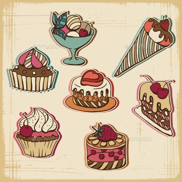 GraphicRiver Cakes in Retro Style 10043020