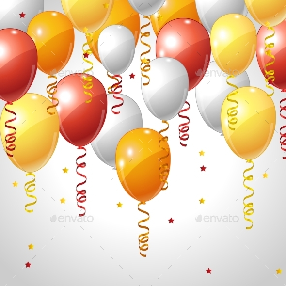 GraphicRiver Background with Balloons and Serpentine 10043046
