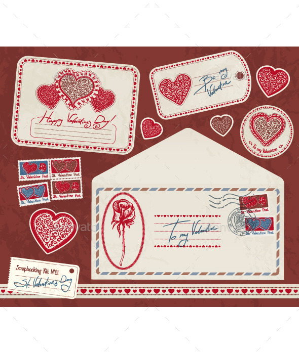 GraphicRiver Valentine Scrapbooking Kit 10043332